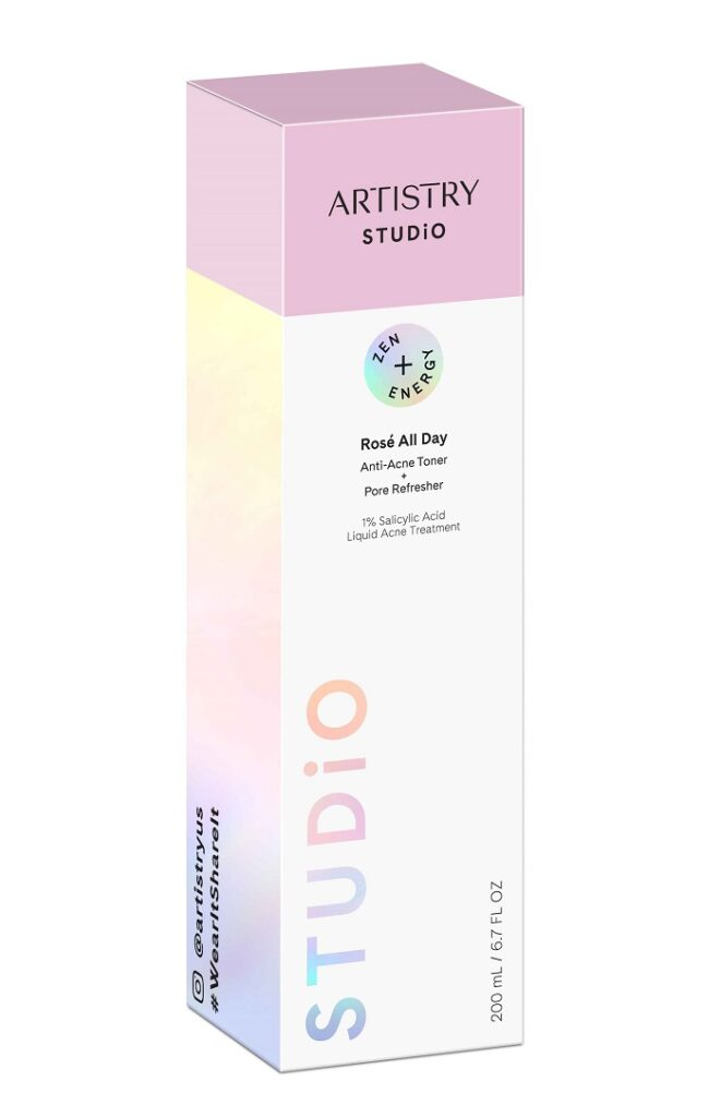 A box of Artistry Studio Rose All Day Anti-Acne Toner and Pore refresher.
