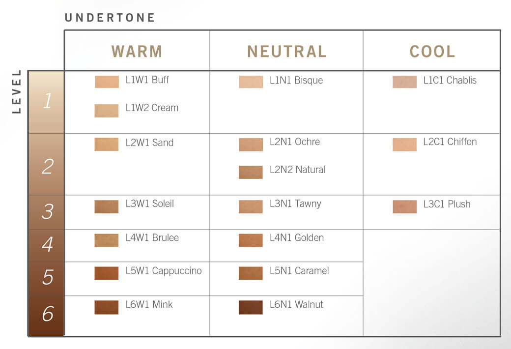 Artistry S Shade Finder Chart Listing Tones And Levels Their Corresponding Foundation Shades