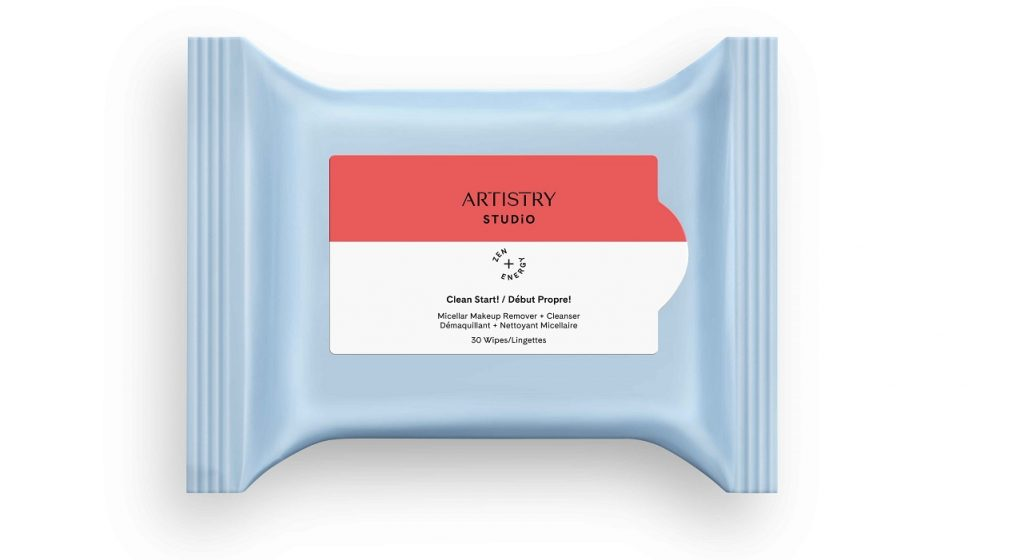A package of Artistry Studio Clean Start makeup removing wipes.