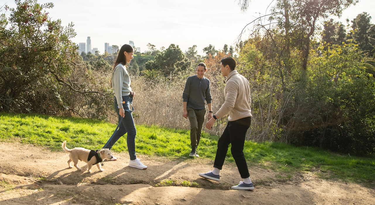 Friends walking dog on a trail with a city skyline in the background.